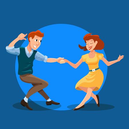 Illustrazione vettoriale di ballare uomini e donne in stile piano del fumetto. Concetto di festa di ballo con ragazza e ragazzo. Illustrazione delle coppie di dancing di giovani felici isolati Archivio Fotografico - 67896594