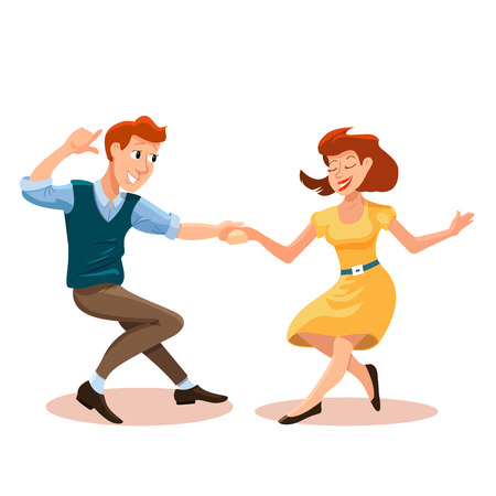 Vector illustration of dancing men and woman in cartoon flat style. Dance party concept with girl and boy. Illustration of dancing couple of happy young people isolated  イラスト・ベクター素材