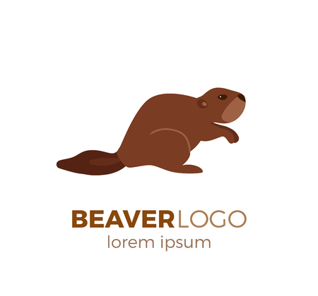 Flat vector beaver logo isolated on white background. Colorful illustration of forest beaver for your company logo or label. Flat style European forest animal collection Illustration