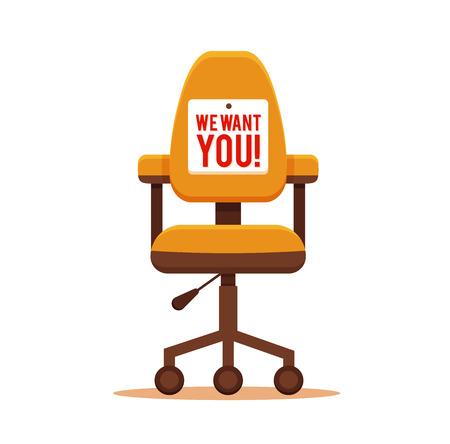 Bureaustoel met die we nodig hebben u bericht kleurrijke flat concept. Vector illustratie van de zakelijke stoel pictogram. Corporate team leegstand ontwerp vector concept.
