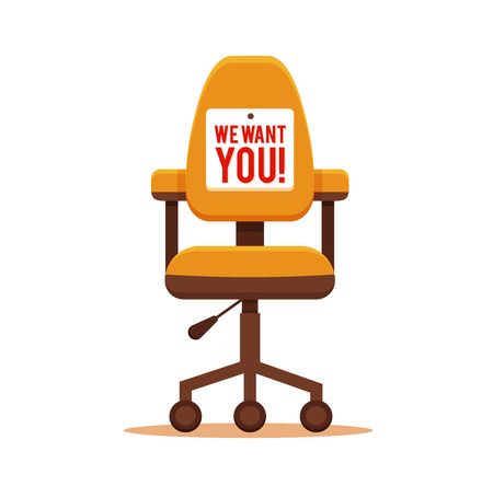 Office chair with we need you message colorful flat concept. Vector illustration of business chair icon. Corporate team vacancy design vector concept.