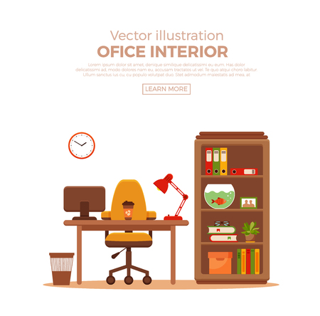 Gentil Vector   Vector Colorful Office Desk With Indoor Plants. Work Interior  Design Elements Computer, Indoor Plants. Office Desk Closeup With Indoor  Plants.