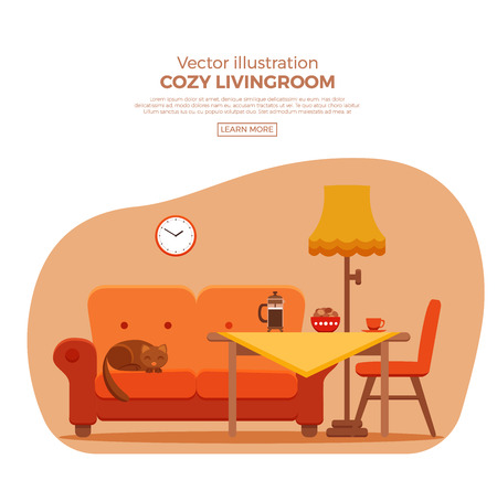Living room cozy colorful cartoon interior. Vector flat illustration with elements chair, sofa, cat, lamp, clock, table, cat coffee