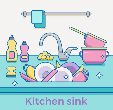 unwashed: Kitchen sink with kitchenware, dishes, utensil, towel, wash sponge, dish detergent colorful outline cartoon illustration. Domestic kitchen interior vector illustration for household and clean design