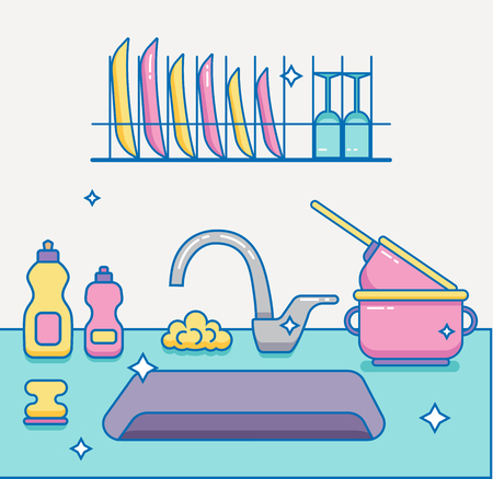 dishwashing liquid: Kitchen sink with kitchenware, dishes, utensil, towel, wash sponge, dish detergent colorful outline cartoon illustration. Domestic kitchen interior vector illustration for household and clean design