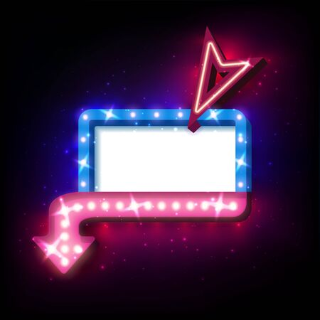 flayers: Neon frame sale offer with lights. Neon sign with arrow and glowing lights. Vector illustration of sale neon frame, arrow. 3D neon frame background for your sale banners, sale flayers or advertising Illustration
