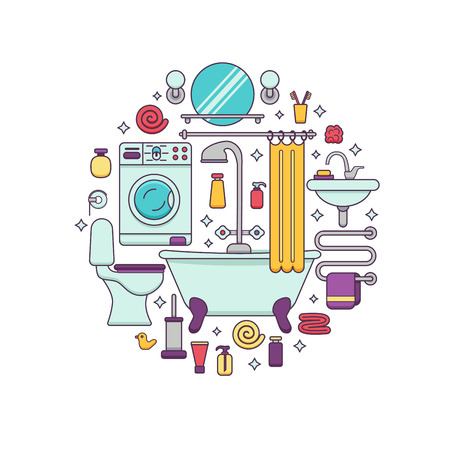 toilet sink: Bath equipment colorful concept . Card or poster template with flat  outline symbols of mirror, bath, toilet, sink, shower. Vector illustration for web sites, shops or bathroom interior designs.