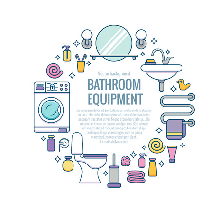 bath equipment colorful concept card or poster template with