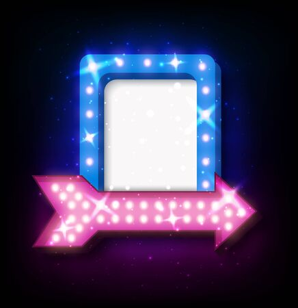 flayers: Retro neon sign with neon arrow. 3D night neon sign with glowing lights. Vector illustration of frame, neon arrow icons. Realistic frame for your designs, banners, flayers or advertising