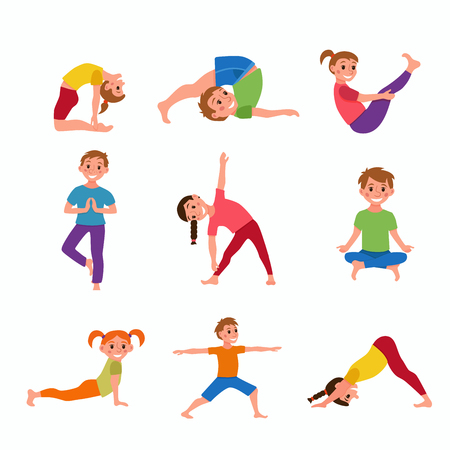 Yoga kids poses Illustration