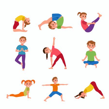 Yoga kids poses 向量圖像