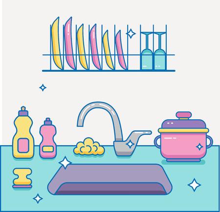 dishwashing liquid: Kitchen sink with kitchenware Illustration