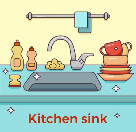 unwashed: Kitchen sink with kitchenware Illustration