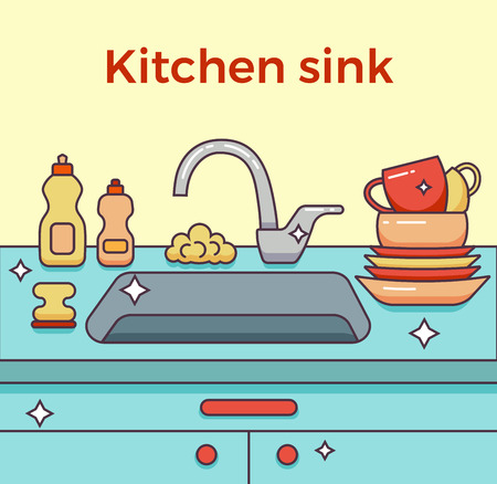 unwashed: Kitchen sink with kitchenware, dishes, utensil, towel, wash sponge, dish detergent colorful outline cartoon illustration. Domestic interior vector concept for household and clean design Illustration