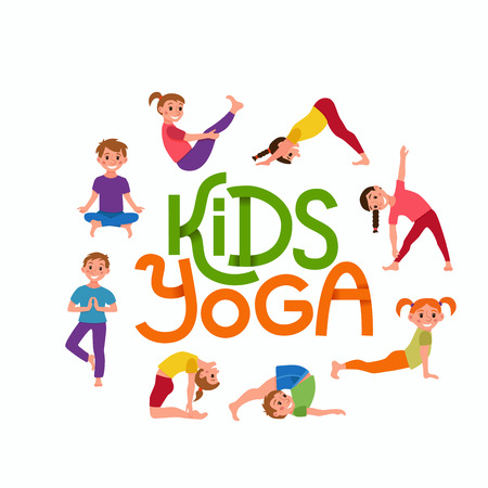 Yoga kids poses set. Cute cartoon gymnastics for children and healthy lifestyle sport illustration. Vector concept happy kids fitness exercise and yoga asana for fitness design with cute logo Vectores