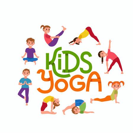 Yoga-kinderen vormen set. Leuke cartoon gymnastiek voor kinderen en gezonde levensstijl sport illustratie. Vector concept gelukkige kinderen fitness oefening en yoga asana voor fitness ontwerp met schattig logo Stock Illustratie