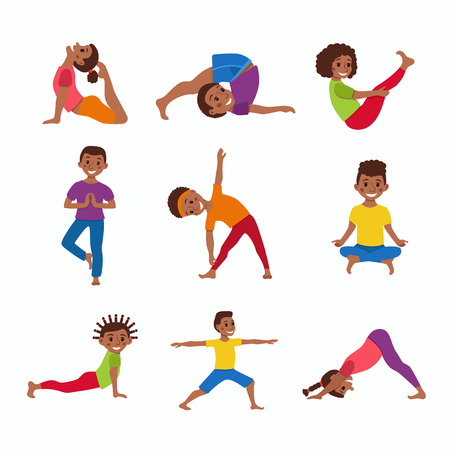 kids exercise poses and yoga asana set Illustration