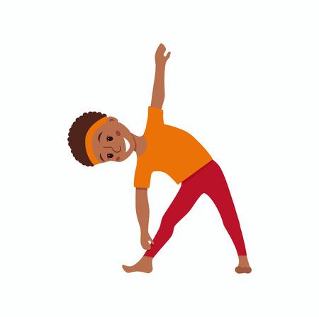 kids exercise poses and yoga asana set Illustration