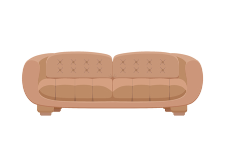 settee: Sofa and couches colorful cartoon illustration