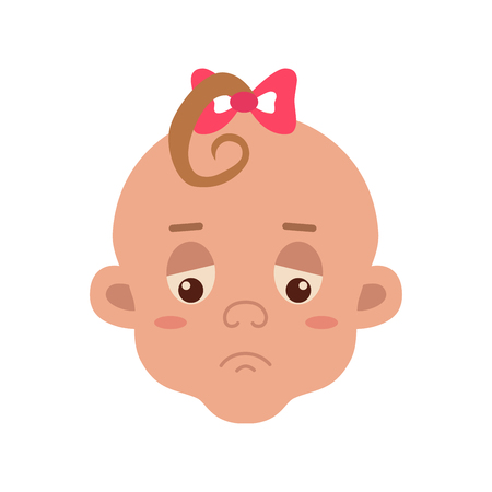 sad little girl: Baby facial expression Illustration