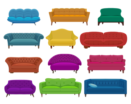 Sofa and couches colorful cartoon illustration