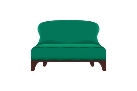 divan: Sofa and couch colorful cartoon illustration vector. Comfortable lounge for interior design isolated on white background. Modern model of settee icon.