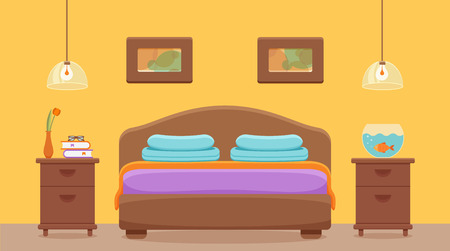 Hotel room interior vector illustration.
