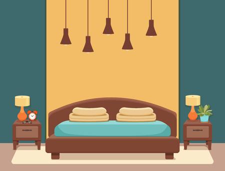 Hotel room interior vector illustration.