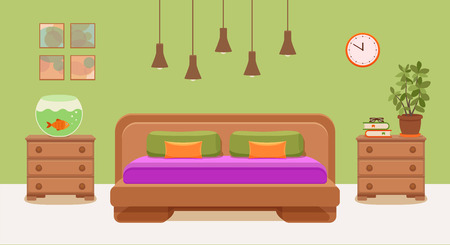 Bedroom interior vector. Illustration