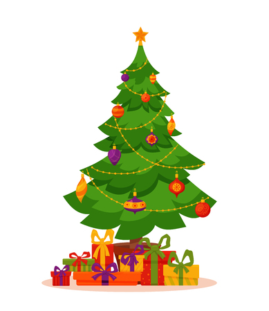 선물과 크리스마스 트리 일러스트