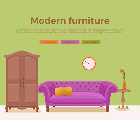 living room sofa: Living room cozy interior with colorful sofa Illustration