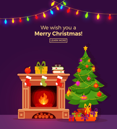 Christmas room interior in colorful cartoon flat style.