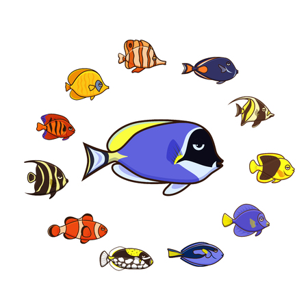 Cute fish illustration icons set.