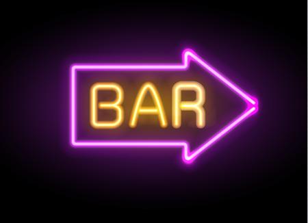 Neon glowing arrow pointer set on dark illustration.