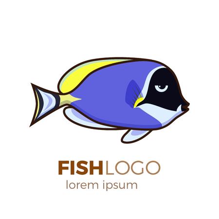 Marine life tropical colorful fish set illustration in cartoon. Aquarium draft vector design. Pouder blue tang logo Illustration