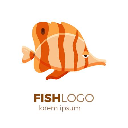 Marine life tropical colorful fish set illustration in cartoon. Aquarium draft vector design.  copperband butterflyfish logo