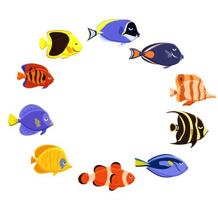 Cute fish vector illustration icons set. Tropical fish, sea fish, aquarium fish.
