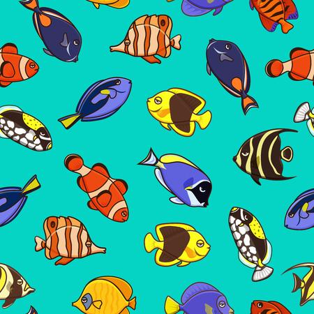 Cute fish vector illustration icons set. Tropical fish, sea fish, aquarium fish