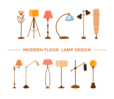Set of colorful cartoon floor lamps light Illustration
