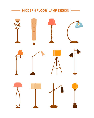 Set of colorful cartoon floor lamps vector illustration
