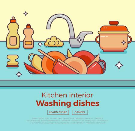 Kitchen sink with kitchenware, dishes, utensil, towel, wash sponge, dish detergent colorful outline cartoon illustration. Vectores