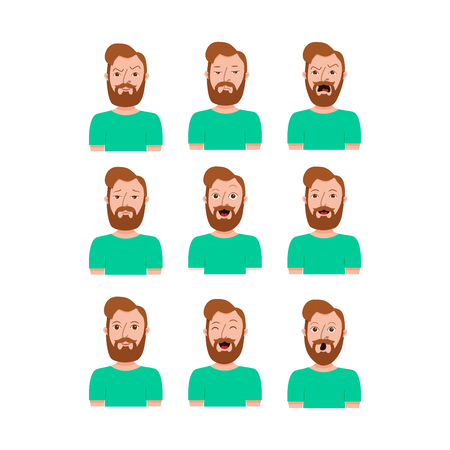 Male cartoon character different expressions