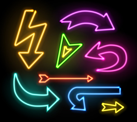 Neon glowing arrow pointer set on dark background.