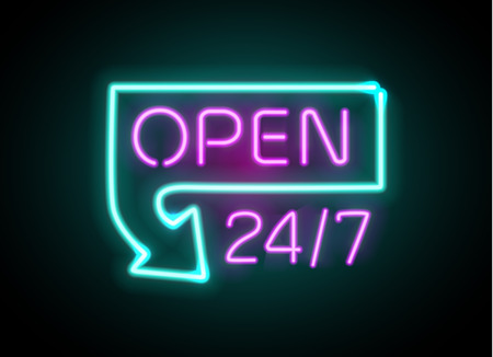 Neon sign Open 24 7 light vector background. Realistic glowing shining design element in arrow frame for 24 Hours Club, Bar, Cafe Vettoriali
