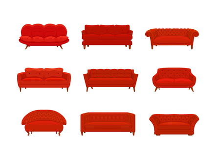 Sofa and couches red colorful cartoon illustration