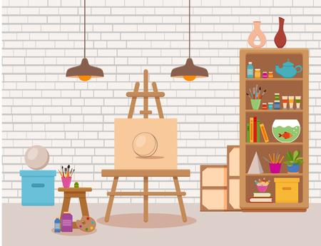 Art studio interior colorful vector illustration. Painter artist workshop room with tools canvas. 일러스트