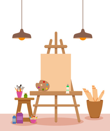 Painter artist workshop room with tools canvas, easel with, lamps paints, palette, brushes, pencils, tube, box. Illustration