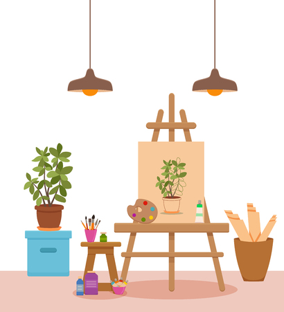 Art studio interior colorful vector illustration. Painter artist workshop room with tools canvas, easel with Plant sketch, paints, palette, brushes, pencils, tube, box Illustration