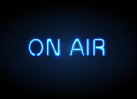 On Air broadcast radio neon sign vector illustration.