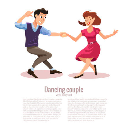 Vector illustration of dancing man and woman